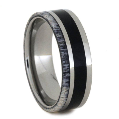 Titanium Pinstriped Ring with Ebony And Deer Antler