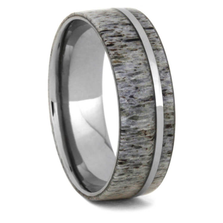 jewelers fit deer tungsten antler comfort in dp wedding hammered com rings pch ring finish band amazon