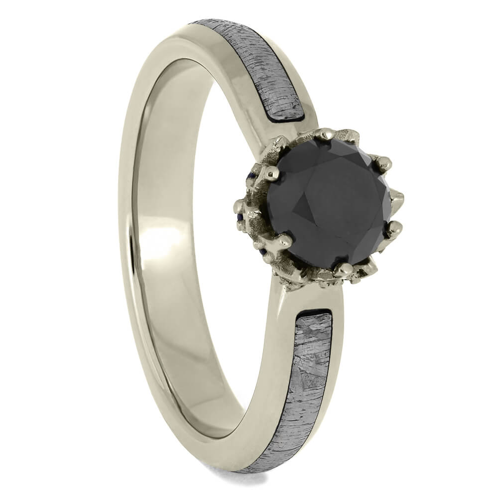Meteorite and White Gold Engagement Ring