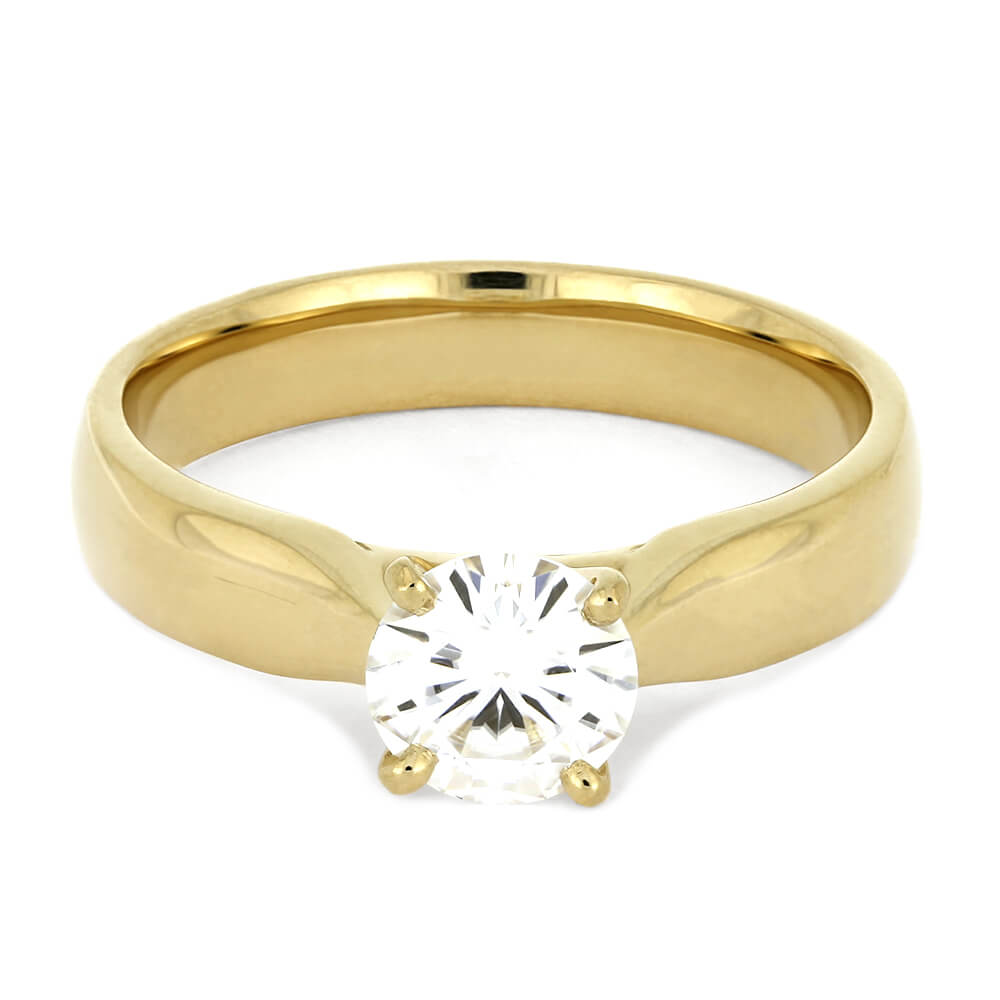 Round Cut 6.5mm Moissanite Engagement Ring with Thick Band - Jewelry by Johan