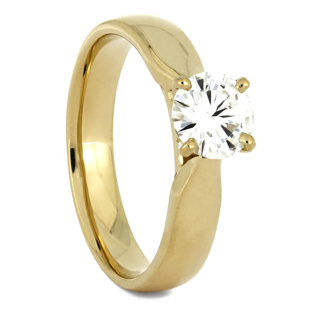 Simple Yellow Gold Engagement Ring with Moissanite-2519 - Jewelry by Johan