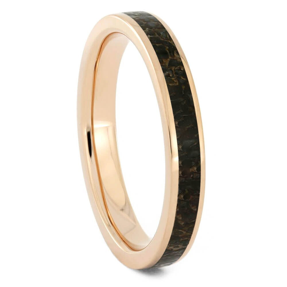 Thin Rose Gold Dinosaur Bone Women's Wedding Band-2532 - Jewelry by Johan