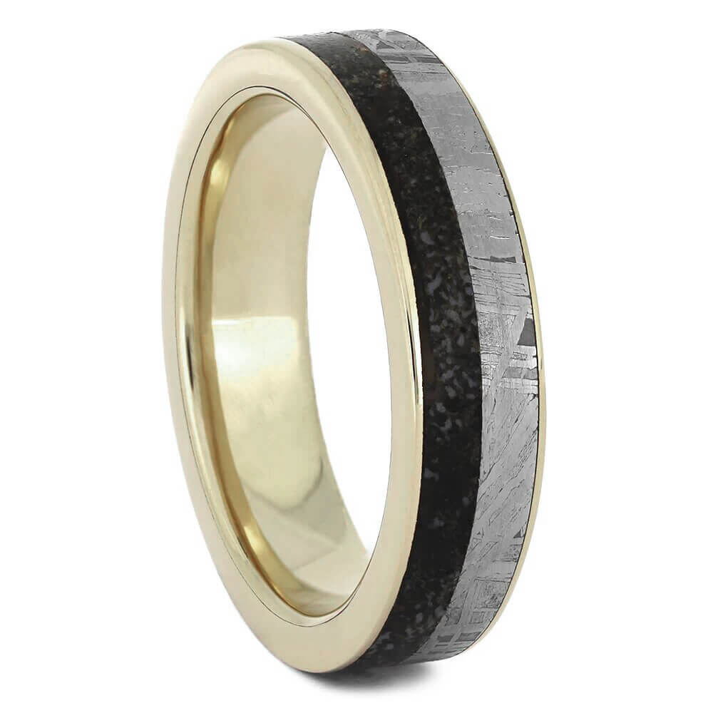 Thin Meteorite and Dino Bone Ring, White Gold Wedding Band-2547 - Jewelry by Johan