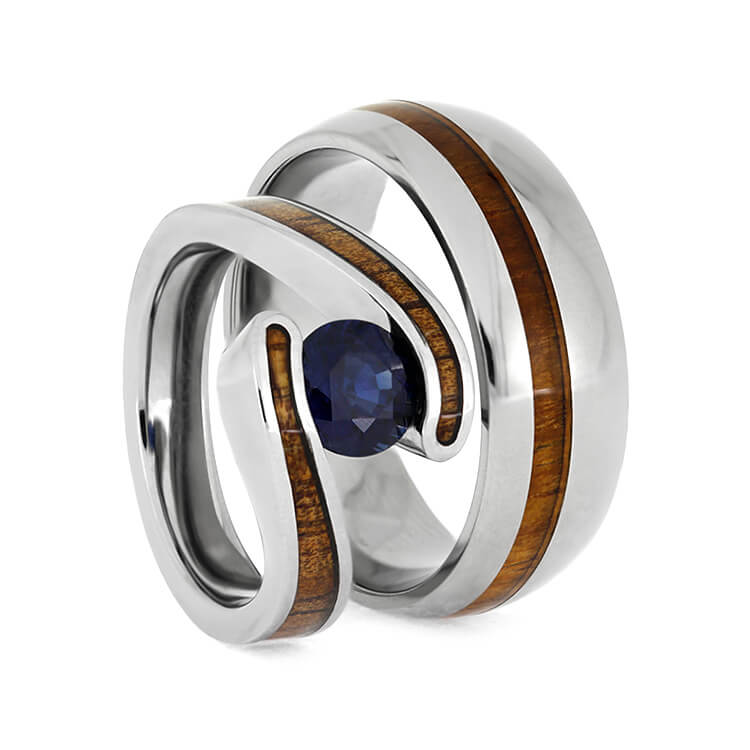 Hawaiian Wood Ring Set, Titanium Wedding Rings With Koa Wood-2668