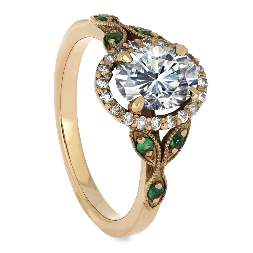 Oval Halo Engagement Ring With Emerald Accent Stones-2554 - Jewelry by Johan