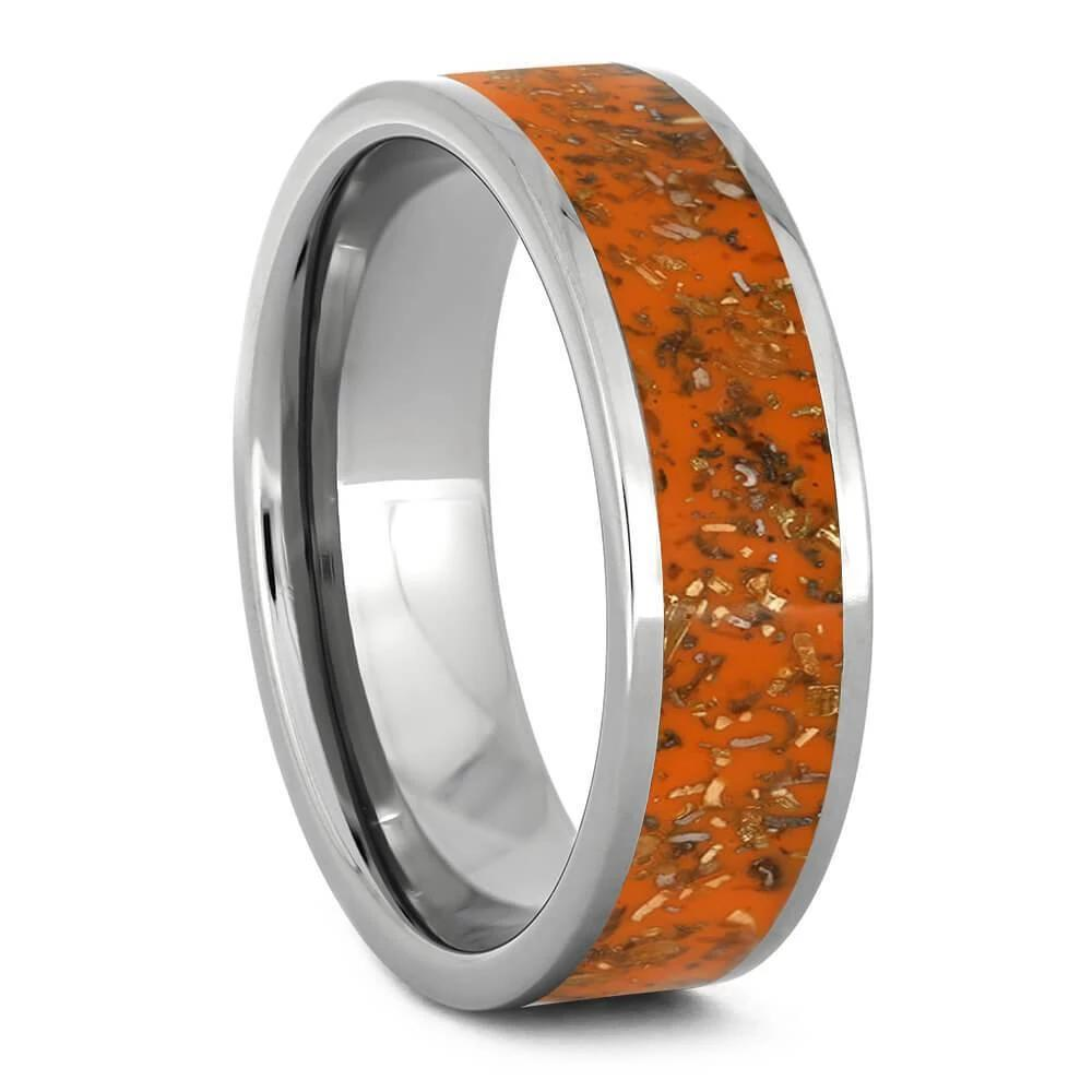 Orange Stardust™ Men's Wedding Band-2556 - Jewelry by Johan