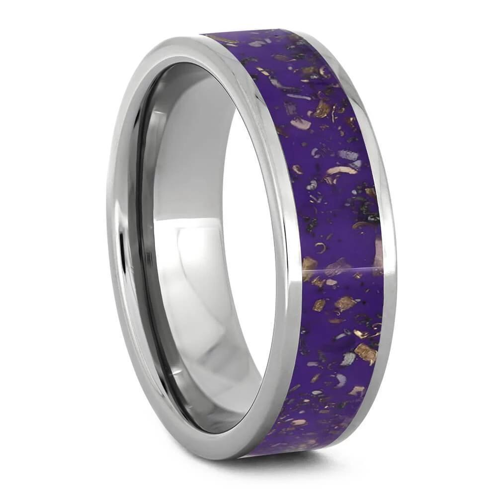 Purple Stardust and Titanium Wedding Band