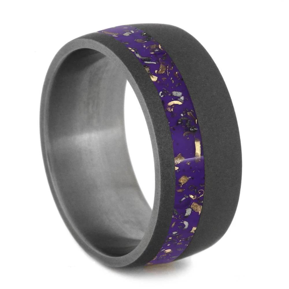 Wide Sandblasted Titanium Ring with Purple Stardust