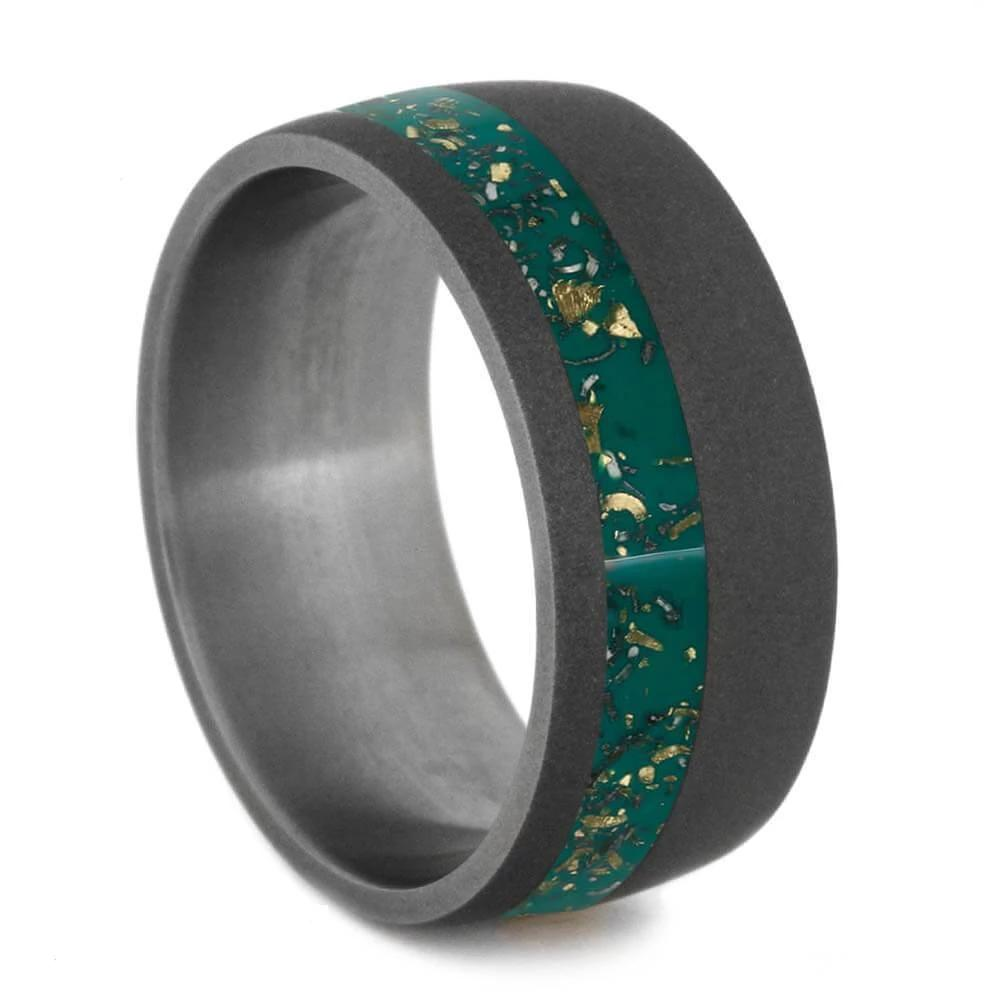 Green Stardust™ Men's Wedding Band With Sandblasted Titanium Finish-2562 - Jewelry by Johan