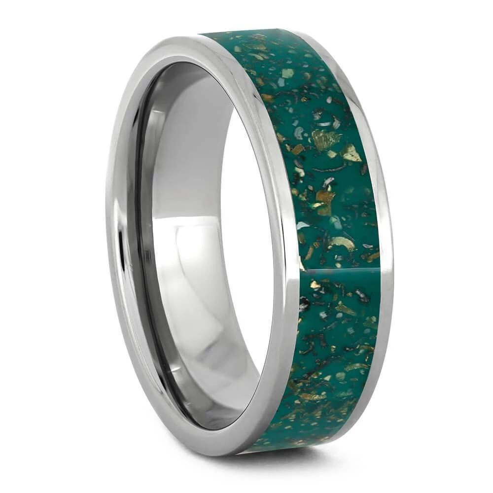 Green Stardust and Titanium Polished Wedding Band