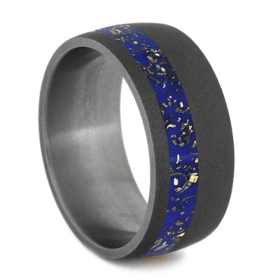 Dark Blue Stardust™ and Sandblasted Titanium Wedding Band-2563 - Jewelry by Johan