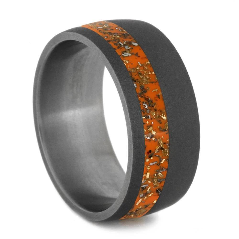 Orange Stardust™ Wedding Band In Sandblasted Titanium-2564 - Jewelry by Johan