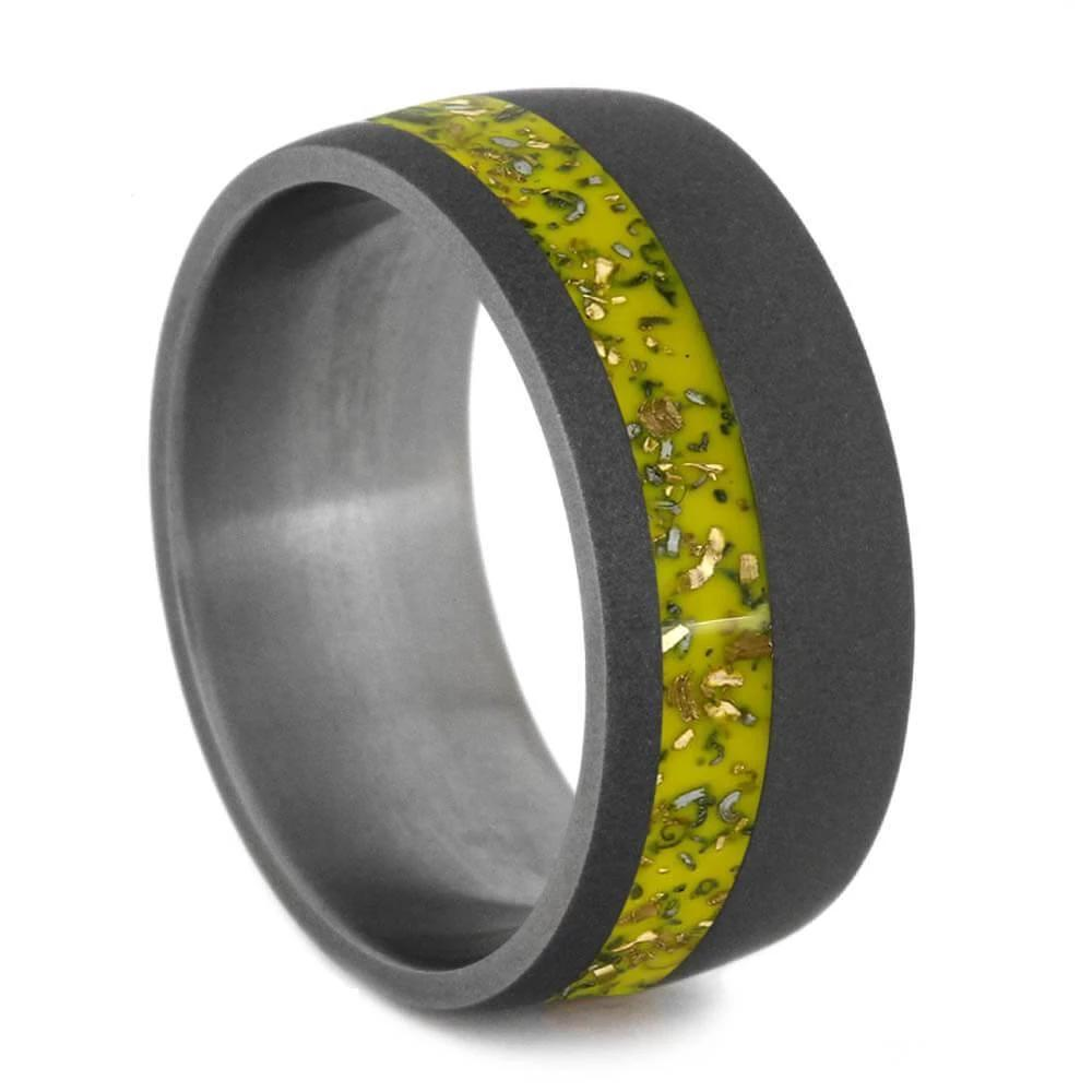 Wide Sandblasted Titanium Ring with Yellow Stardust