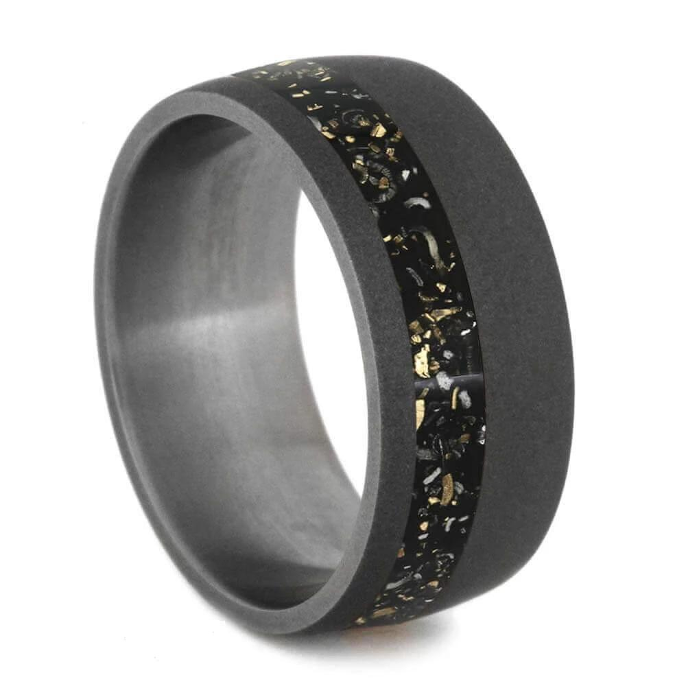 Wide Sandblasted Titanium Ring with Strip on Stardust