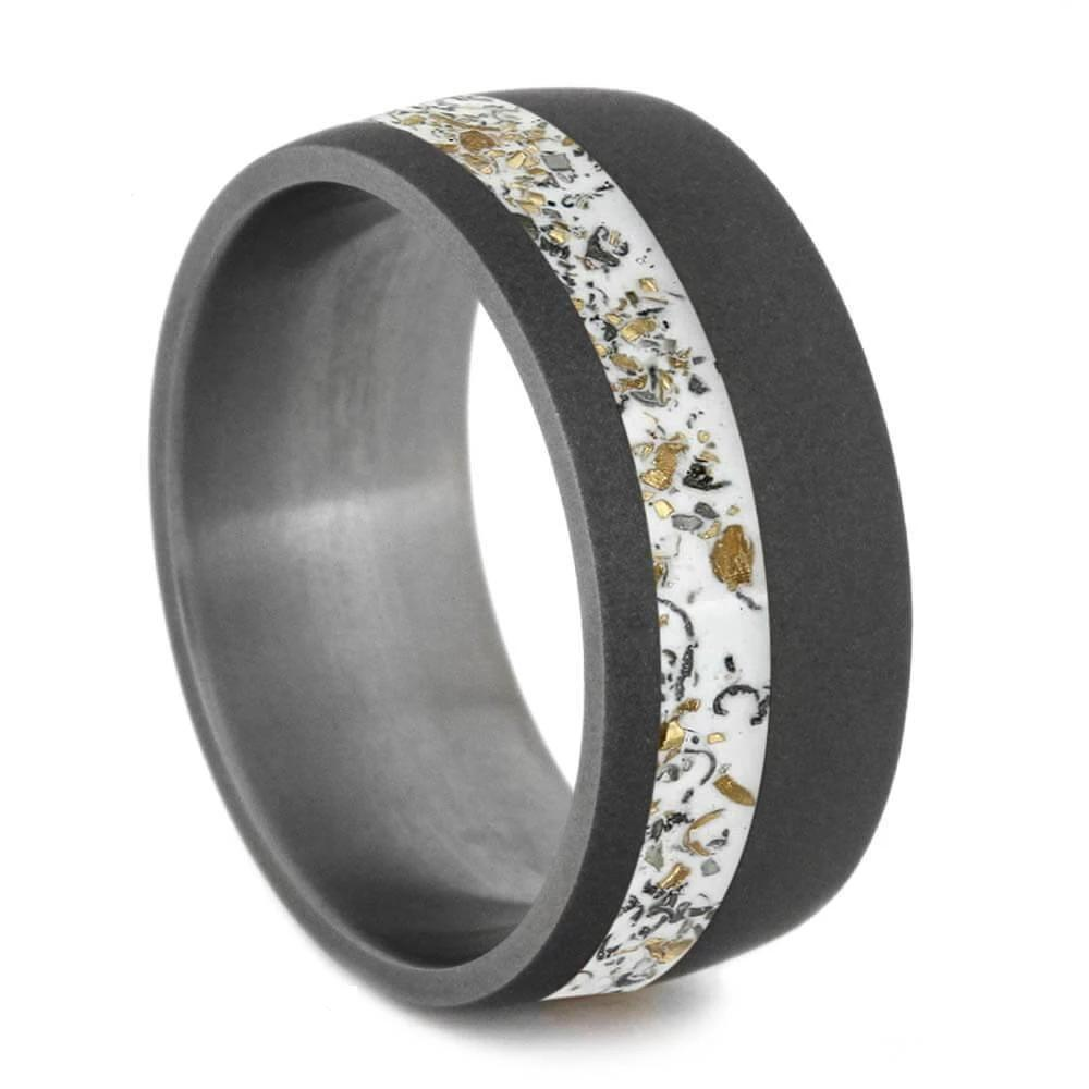 Wide Sandblasted Titanium Ring with White Stardust