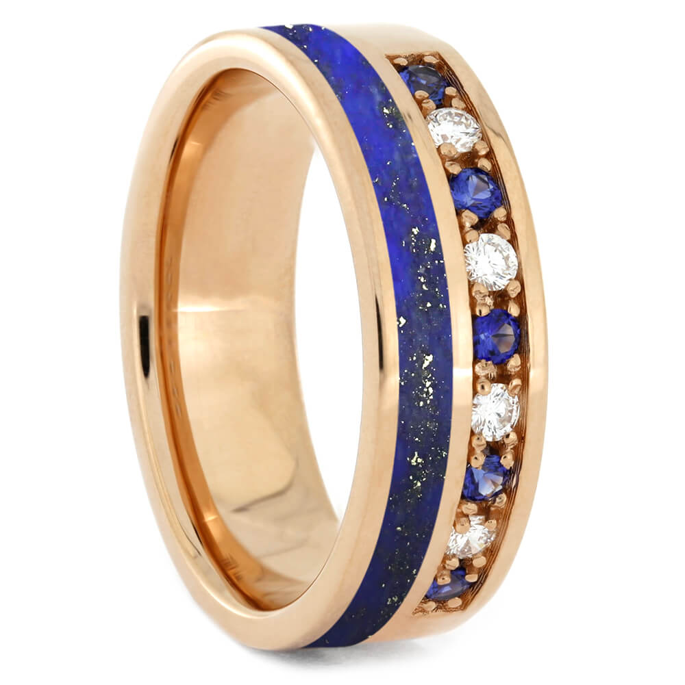 Diamond and Sapphire Wedding Band with Lapis Lazuli-2569 - Jewelry by Johan