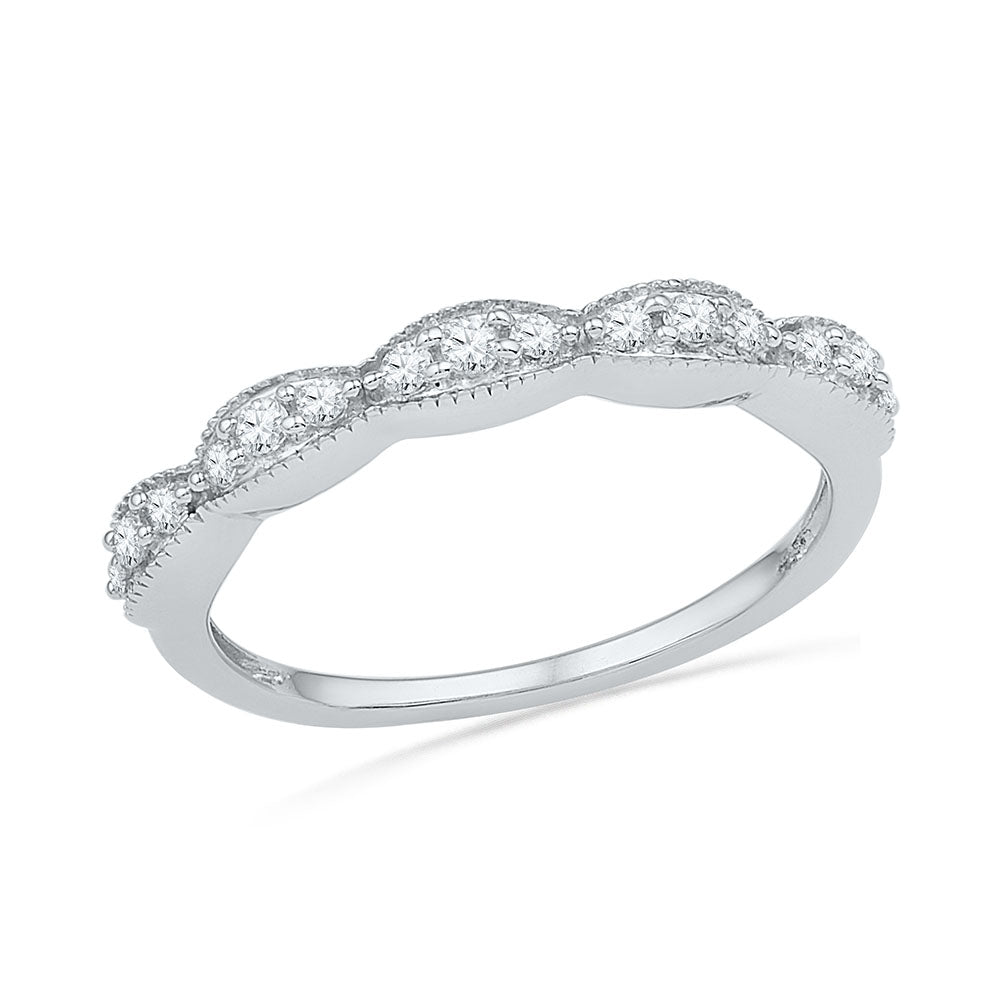 Women's Diamond Accented Wedding Band, Sterling Silver Ring-SHRA017740-SS - Jewelry by Johan