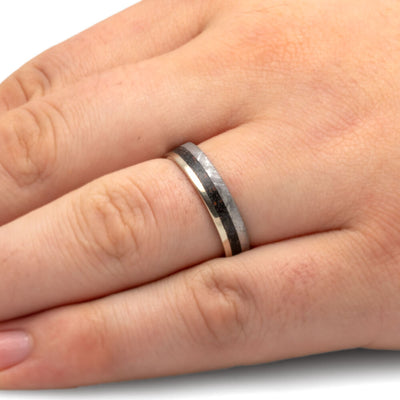 Meteorite And Dinosaur Bone Men's Wedding Band, White Gold Ring-2580 - Jewelry by Johan