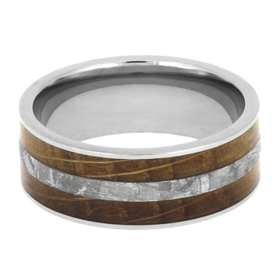 Whiskey Oak Ring With Meteorite, Wooden Men's Wedding Band-2585 - Jewelry by Johan
