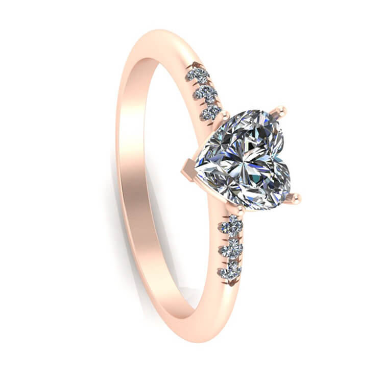 Heart Engagement Ring, White Sapphire Ring in Rose Gold-3382 - Jewelry by Johan