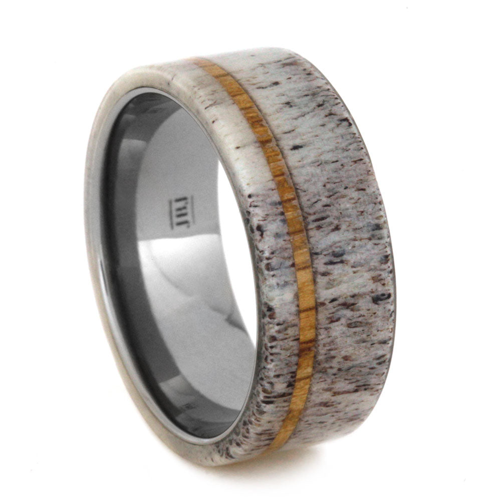 Antler Men's Wedding Band with Oak Wood Pinstripe, Size 11-RS8962 - Jewelry by Johan