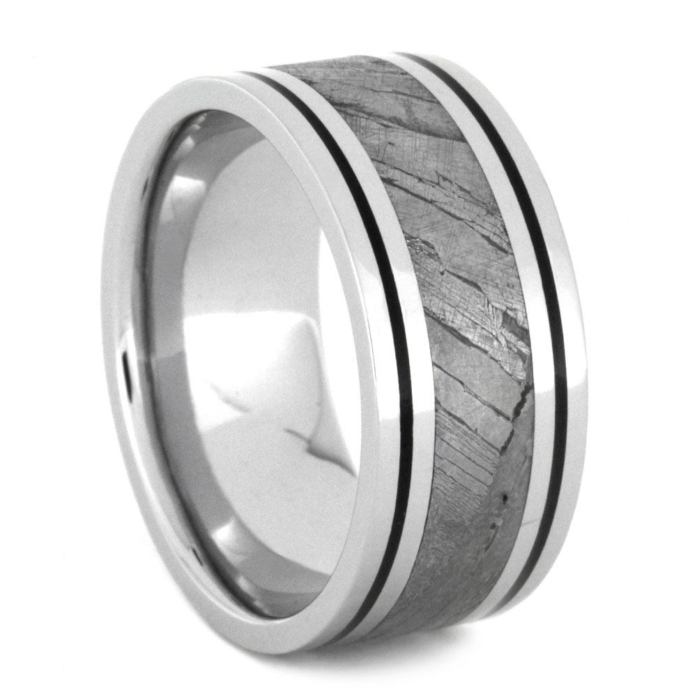 Mens Wedding Band With Black Enamel And Seymchan Meteorite