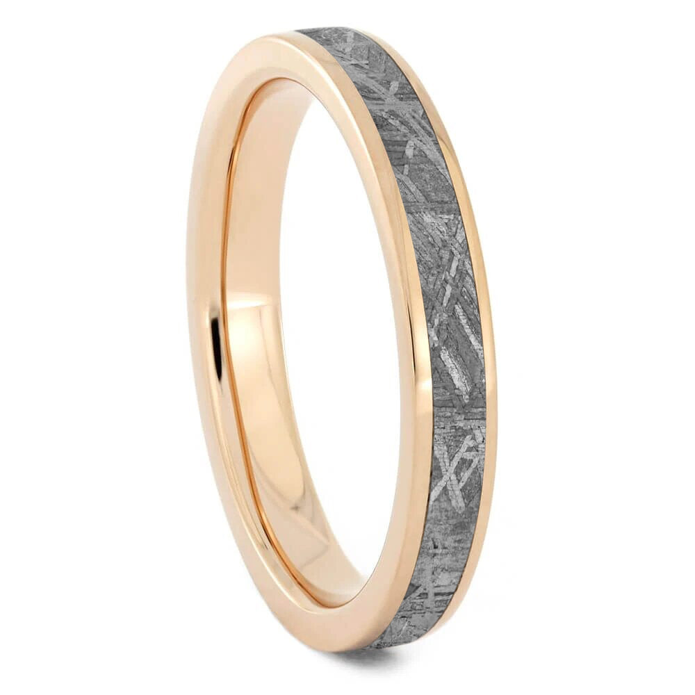 Gibeon Meteorite Wedding Band For Women in Rose Gold-2601 - Jewelry by Johan