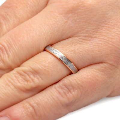 Gibeon Meteorite Wedding Band For Women in 14k Rose Gold-2601 - Jewelry by Johan
