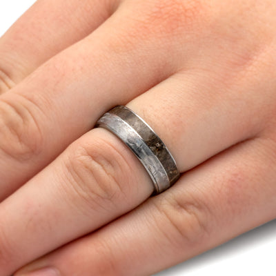 Tungsten Fossil Ring, Gibeon Meteorite Wedding Band With Dinosaur Bone-2605 - Jewelry by Johan