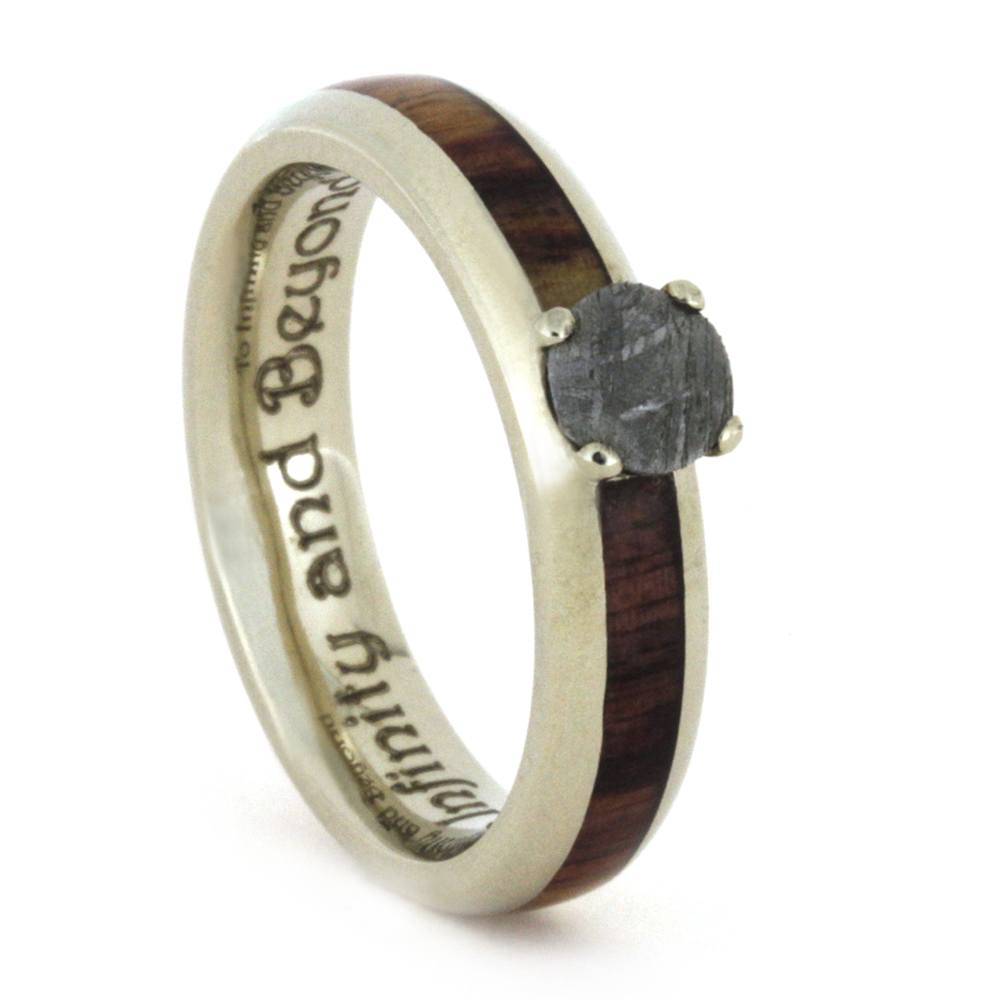 Meteorite Engagement Ring with Tulipwood Inlay. White Gold Ring