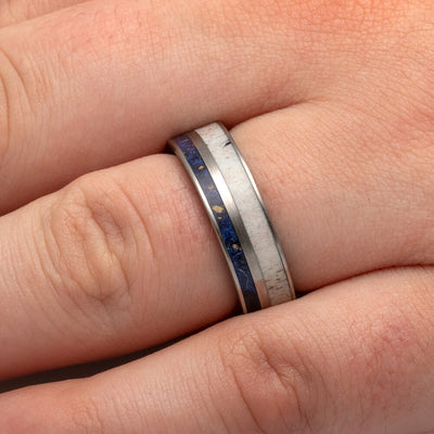Antler Wedding Band with Blue Box Elder Burl Wood-2619 - Jewelry by Johan