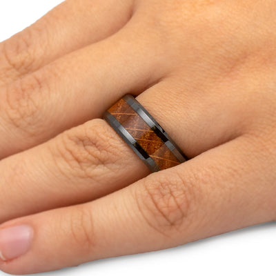 Whiskey Barrel Wood Ring, Black Ceramic Wedding Band-2620 - Jewelry by Johan