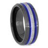 Men's Meteorite Ring With Blue Enamel Pinstripes
