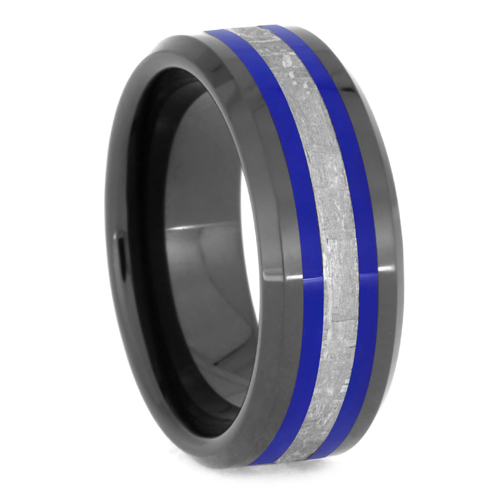 Men's Meteorite Ring With Blue Pinstripes-2630BL - Jewelry by Johan