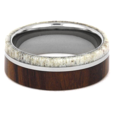 Men's Wedding Band with Antler and Wood