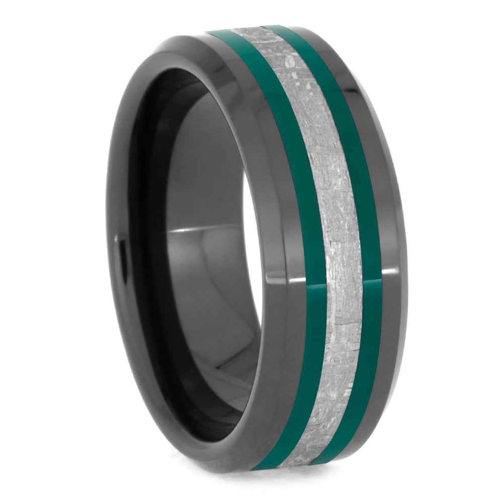Black Ceramic Men's Wedding Band With Green Enamel Pinstripe and Meteorite-2627 - Jewelry by Johan