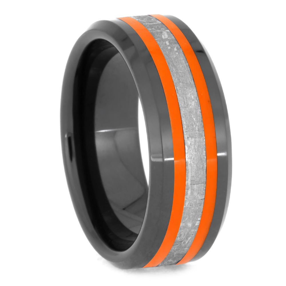 Meteorite Men's Ring With Orange Enamel, Black Ceramic Wedding Band-2628 - Jewelry by Johan