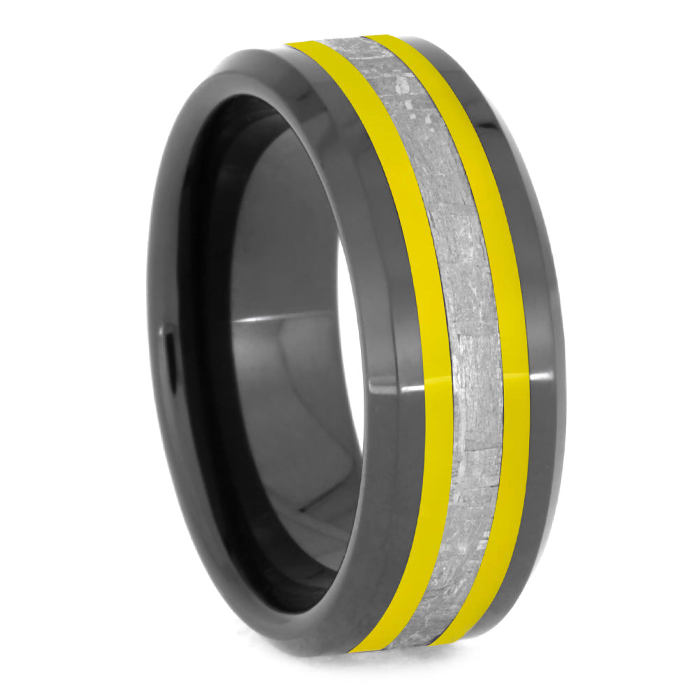 Gibeon Meteorite Wedding Band With Yellow Pinstripes, Black Ceramic Ring-2629 - Jewelry by Johan