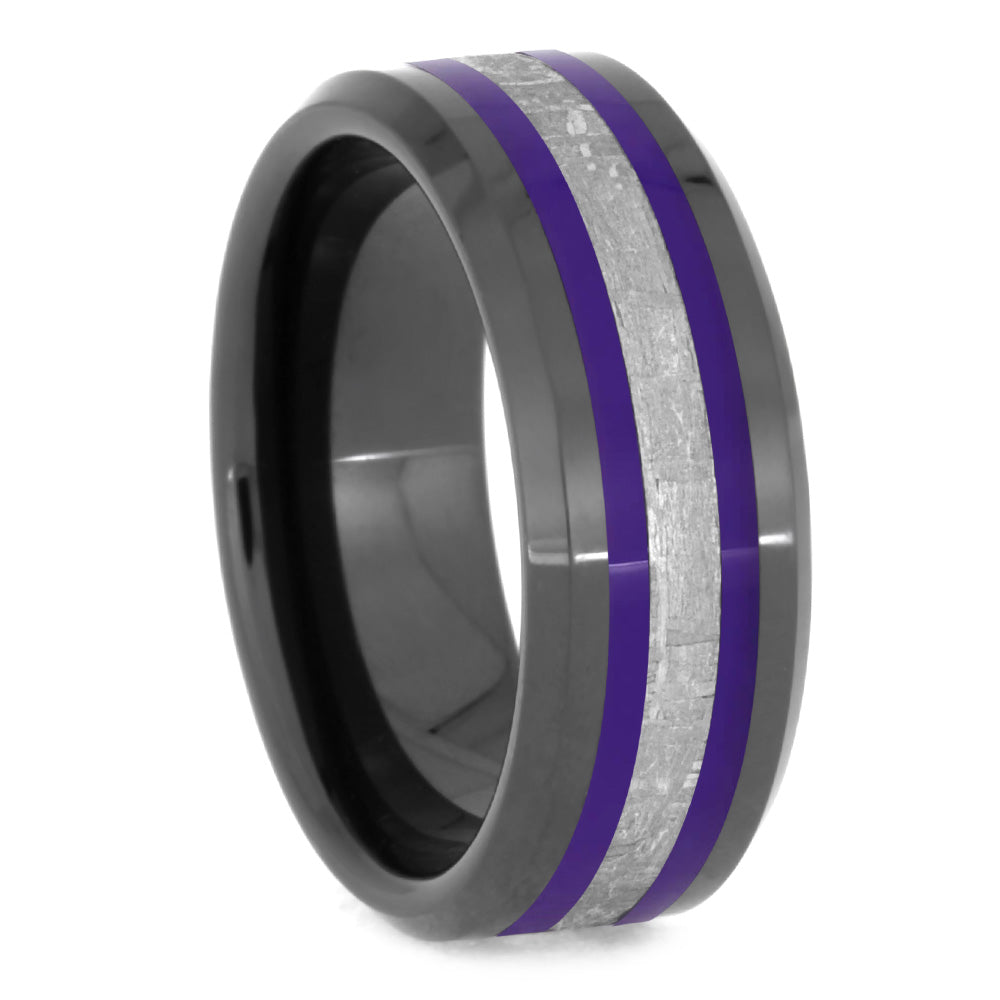Meteorite Ring With Purple Enamel Pinstripes, Unique Men's Wedding Band-2630 - Jewelry by Johan