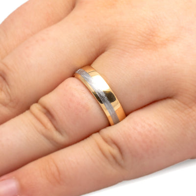 Yellow Gold Ring, Meteorite Men's Wedding Band-2638 - Jewelry by Johan
