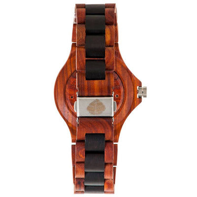 Modern Mens Wood Watch Made With Rosewood And Dark Sandalwood-TG4302RD-SG