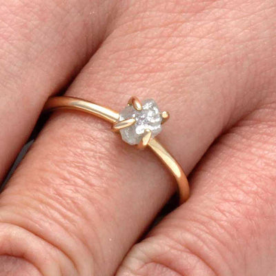 Rough Diamond Ring In Thin 10k Yellow Gold-2866