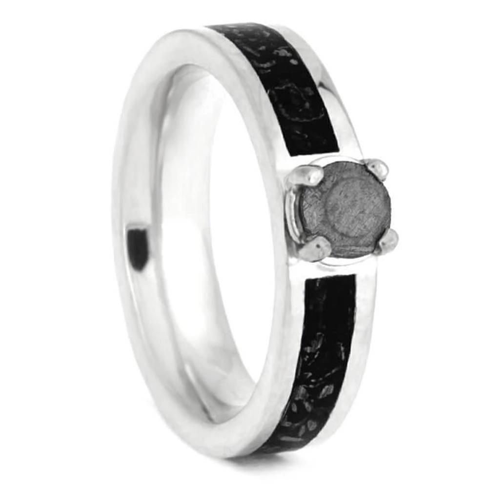 Sterling Silver Engagement Ring with Stardust Inlay and Meteorite Stone