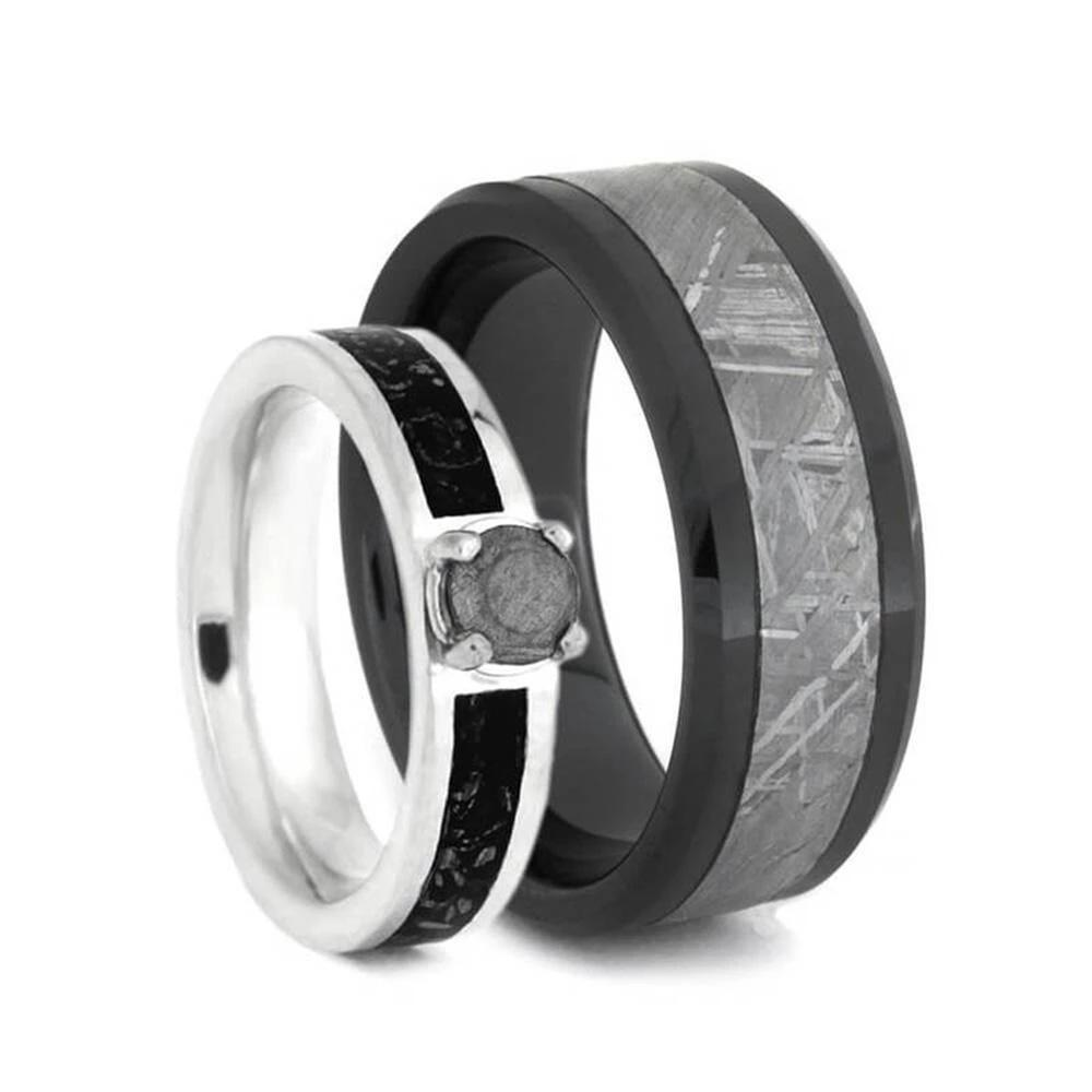 Matching Meteorite Wedding Ring Set With Black Stardust™-2651 - Jewelry by Johan