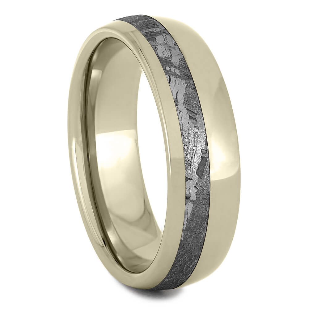 Gold Meteorite Ring, White Gold Men's Wedding Band, Handmade Ring-2661 - Jewelry by Johan