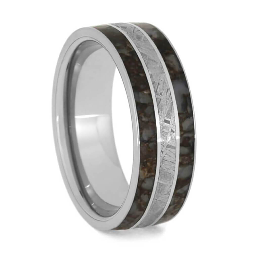 Meteorite and dinosaur bone wedding band