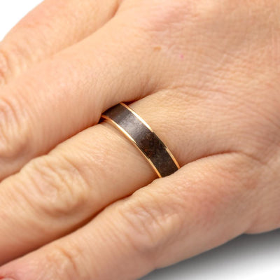 Fossilized Dinosaur Bone Men's Wedding Band in 10k Yellow Gold-2667 - Jewelry by Johan