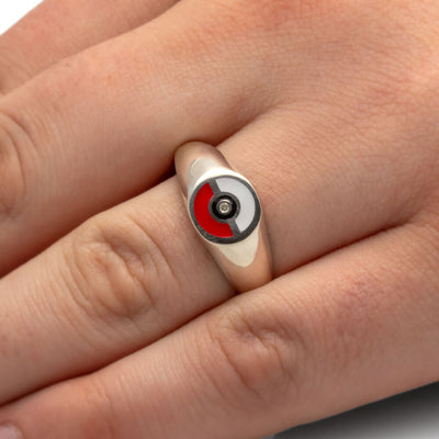 Pokemon Engagement Ring, Pokeball Ring In Signet Ring Style, Moissanite Center Stone-2680 - Jewelry by Johan
