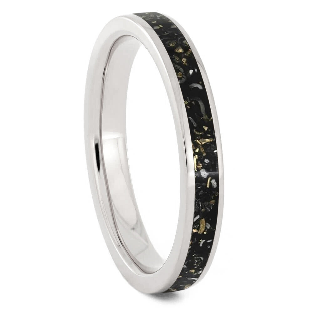 Thin Black Stardust™ Wedding Band for Woman-2684 - Jewelry by Johan