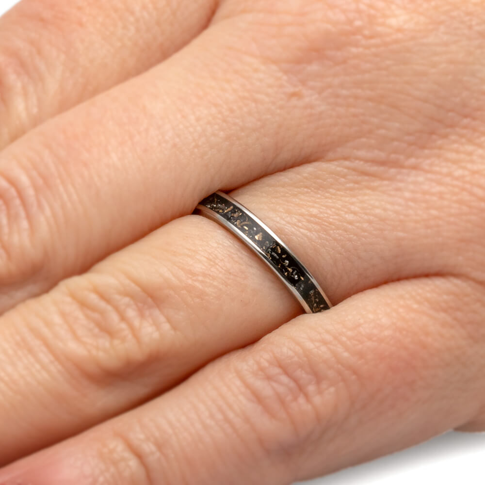 Thin Black Stardust Wedding Band For Woman 2684 Jewelry By Johan